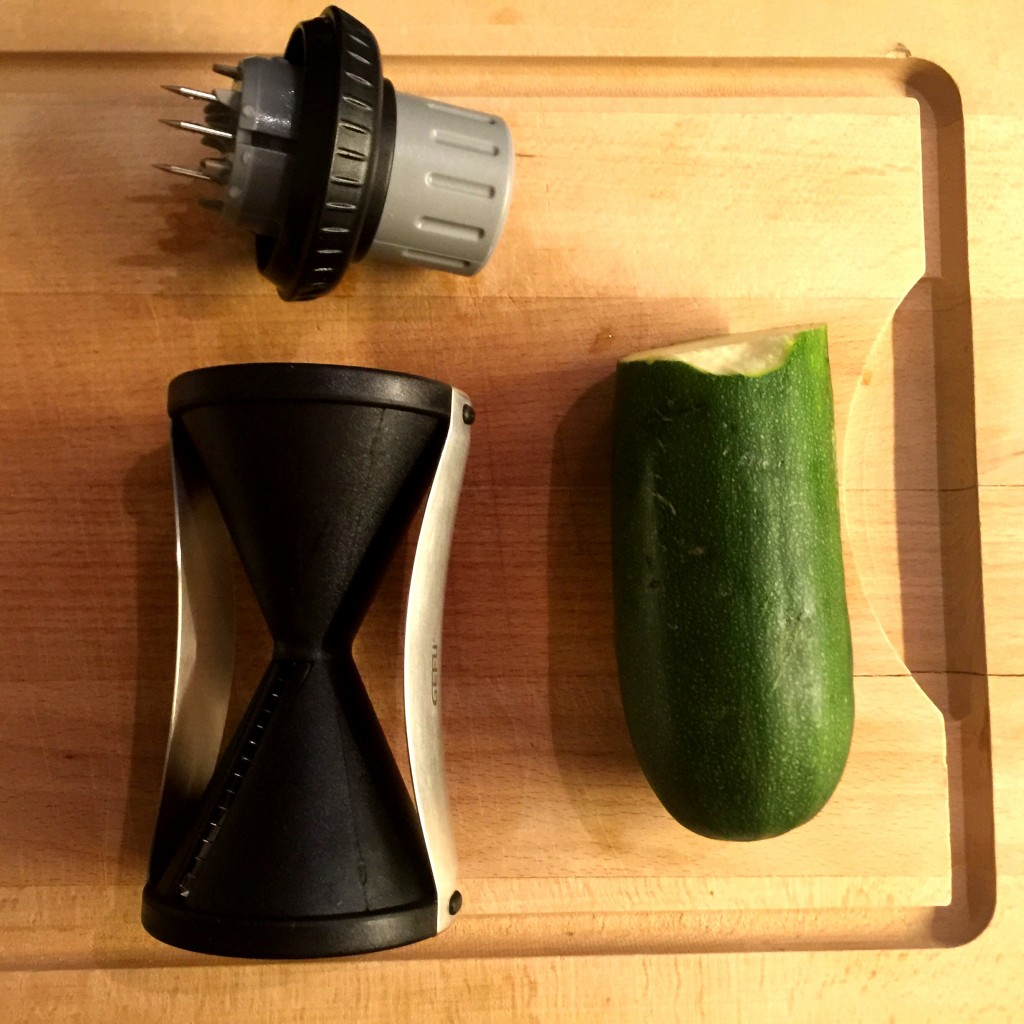 The Gefu Spiralli Spiral Slicer and its test subject